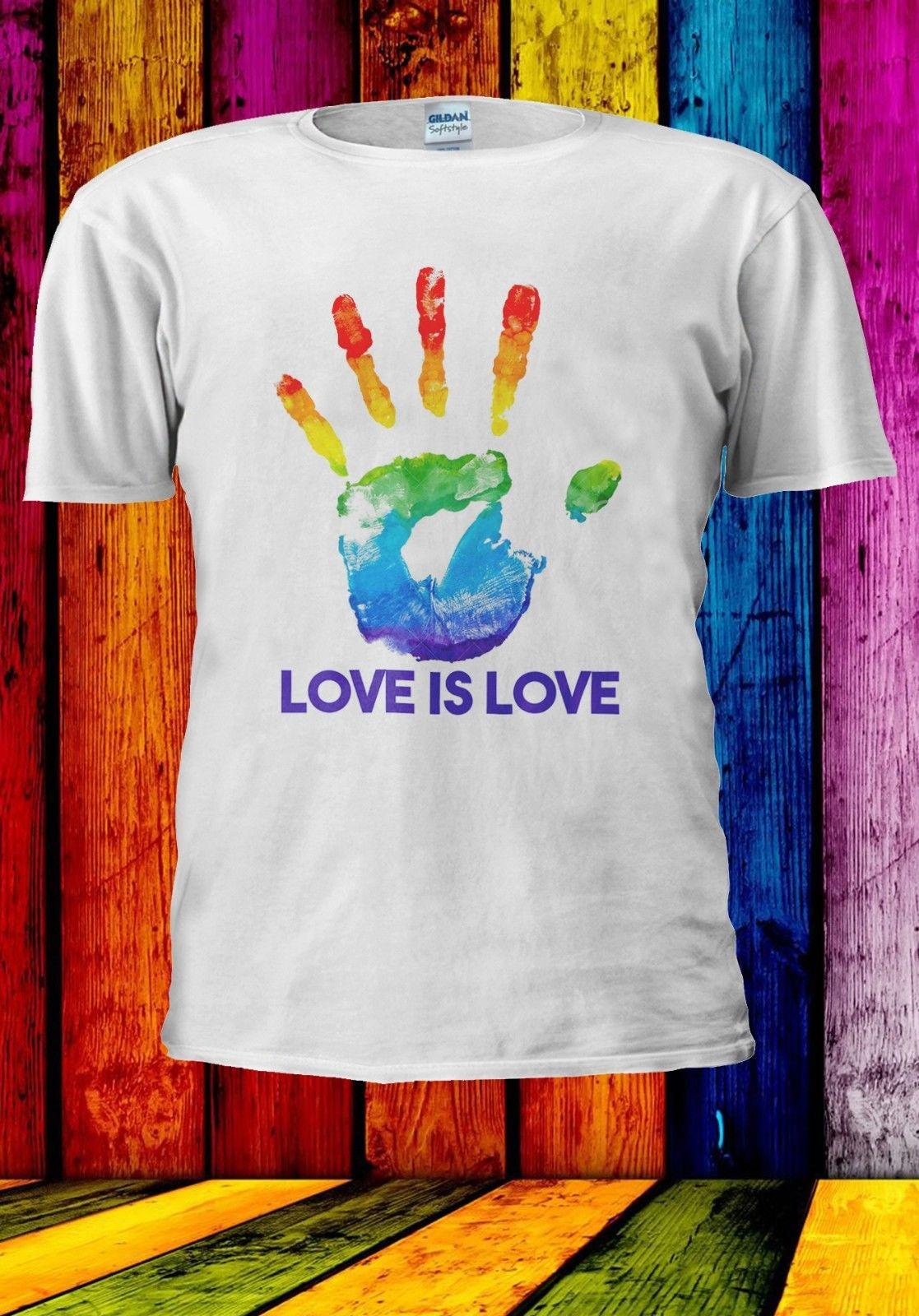 c589cc979 Hand Print Love Gay Pride Rainbow Lesbian LGBT Men Women Unisex T Shirt  941Funny Unisex Casual Tshirt Retro Shirts Awesome Shirts From  Deepseastation, ...