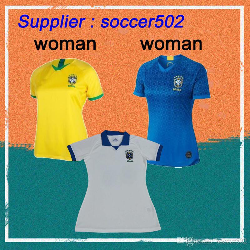 half off 4618b be20f New 2019 Copa America Brazil Frauen Fußball Trikots P.COUTINHO MARCELO  PAULINHO G.JESUS Mädchen Fußball Shirts Damen Fußballuniform
