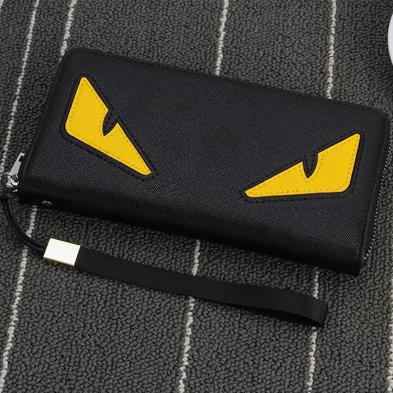 Wholesale- 2016 New brand men's wallet zipper long phone clutch bag fashion high quality guarantee eyes purse clutch wallet free shipping