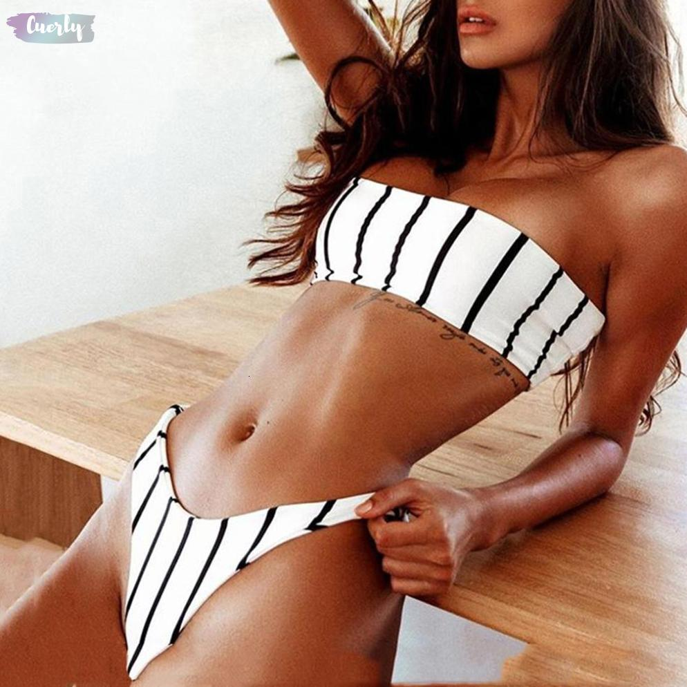 Women Suits Bandeau Swimwear Set Push Up Padded Bow Black And White Stripe Printed Wrapped Chest Swimsuit Bathing Sexy