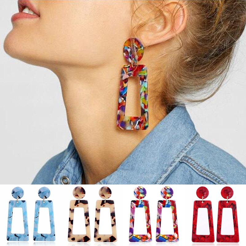 Colorful Resin Geometric Earrings Hollow Square Chandelier Earrings Dangle Fashion Jewelry for Women Drop Ship 350184