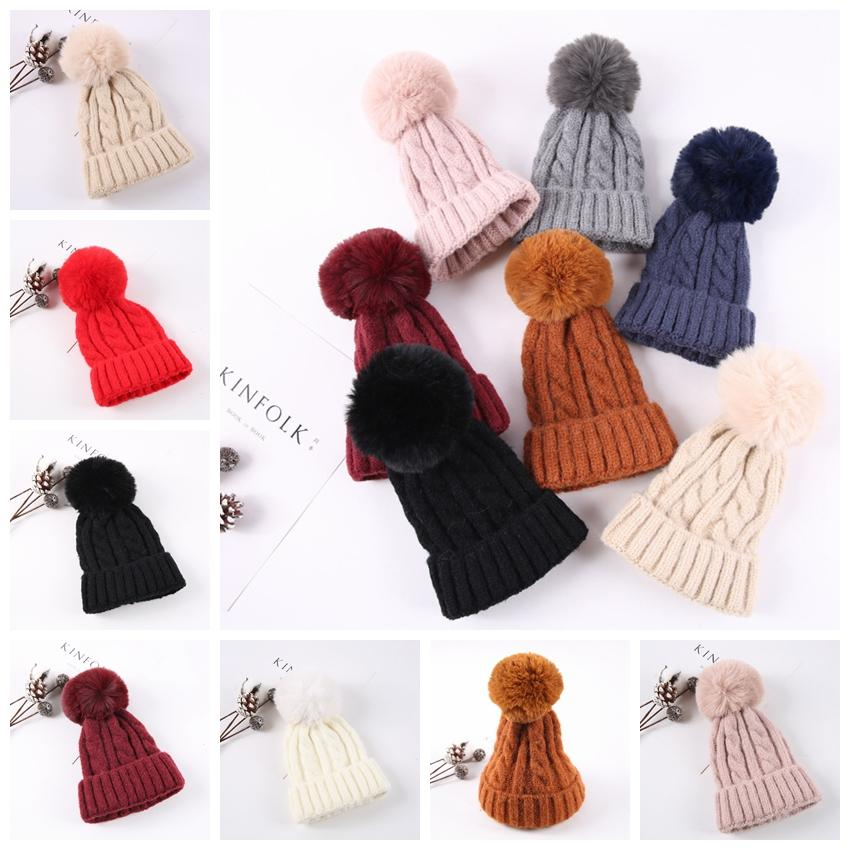 a995710274d20 Ball Knit Hat Winter Knitted Pom Pom Cap Girls Women Beanie Hat Winter Warm  Hats Xmas Gifts Party Hats GGA1432 Solid Party Hats Sparkly Party Hats From  ...