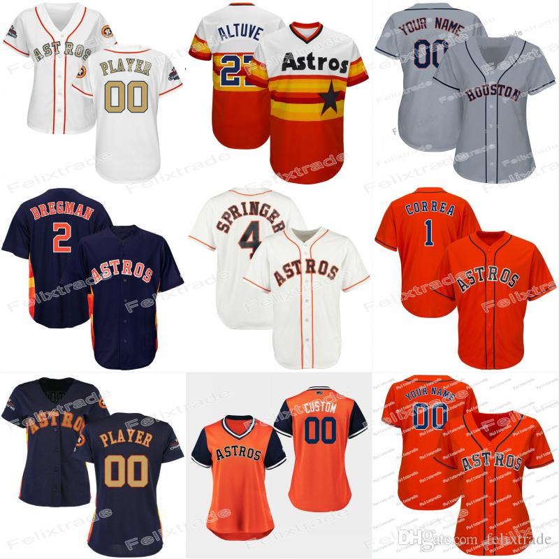new concept 8d3da f8af6 Womens Lady 4 George Springer Houston Alex Bregman Astros Michael Brantley  Jose Altuve Carlos Correa Josh Reddick Justin Verlander Jerseys