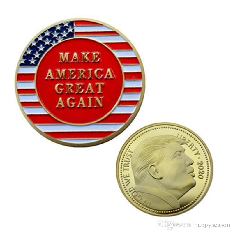Donald Trump Gold Eagle Coin Commemorative Coins Make America Great Again US 45th President Metal Badge Token Craft Collection