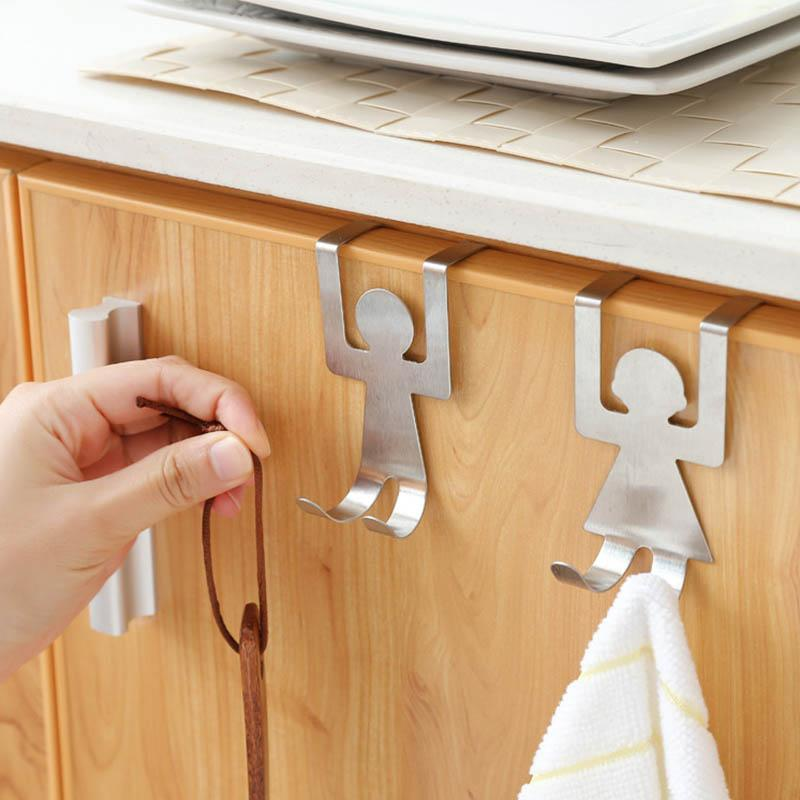 Clothes 2PCS/Set Hanger Hooks Home Organization Lovers Shaped Stainless Steel Storage Racks Kitchen Pot Hat Pan Bathroom