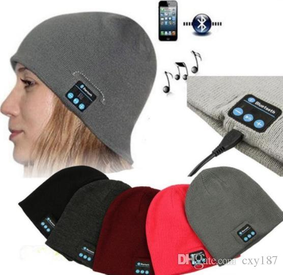 Music Hat Soft Warm men women Beanie Bluetooth Music Hat Cap with Stereo Headphone Headset Speaker Wireless Mic Hands-free christmas gift