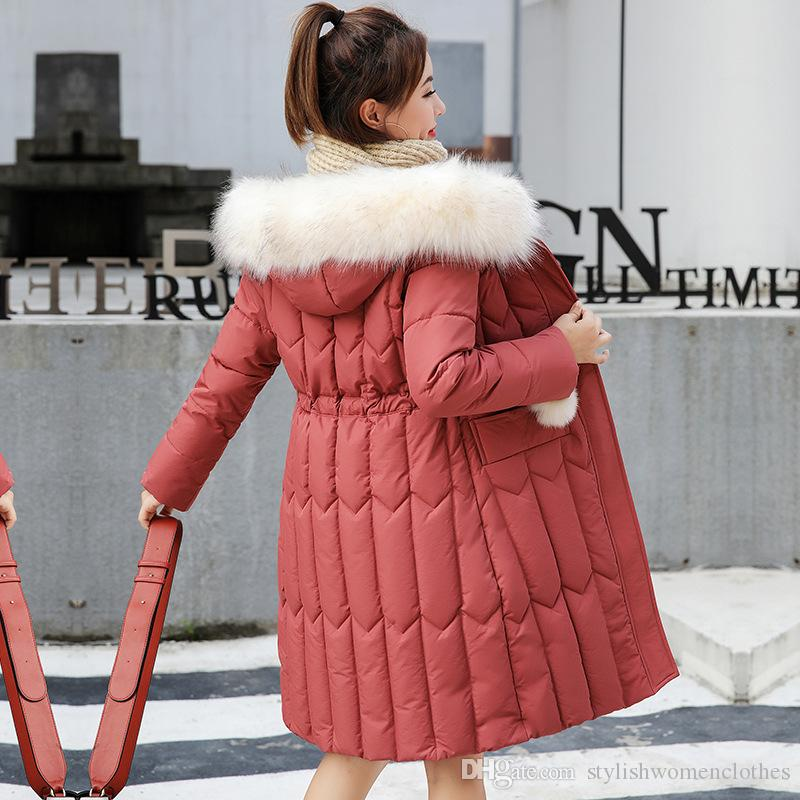 Women winter Hooded Coats Plus Size Thick Big Fur Women Long Down Parkas Slim Winter Jacket New Cotton Padded Jackets Female