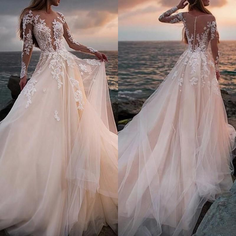 Illusion Lace Bodice Wedding Dress Transparent Long Sleeve Sheer Neck Fancy Tulle A Line Sweep Train Bridal Gowns Custom Size