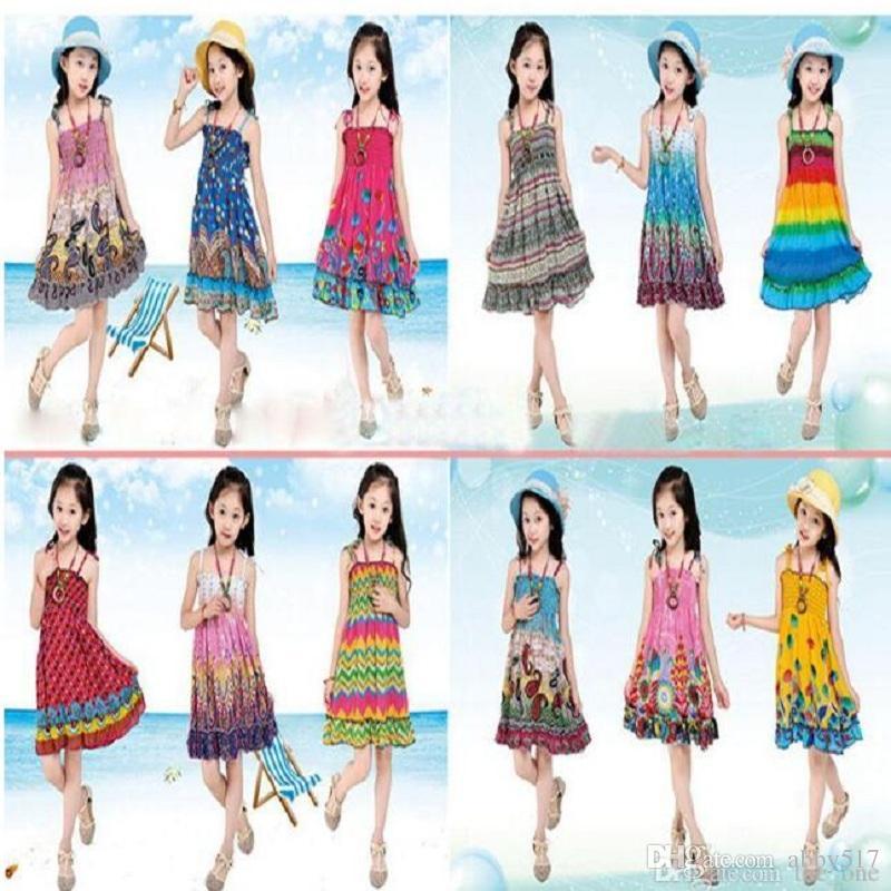fd48c829c270 2019 Girl Summer Beach Dress Kids Summer Long Bohemian Beach Dresses Kids  Princess Flower Dress Kids With Necklace Girls Sleeveless Cotton Dress From  ...