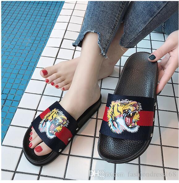 76937fd8744 Wholesale Tiger Head Luxury Designer Sandals Mix Models Men Women Slippers  GUCCI Flower Tigers Snake Print Rubber Leather Size 36 45 Bridesmaid Shoes  Pumps ...