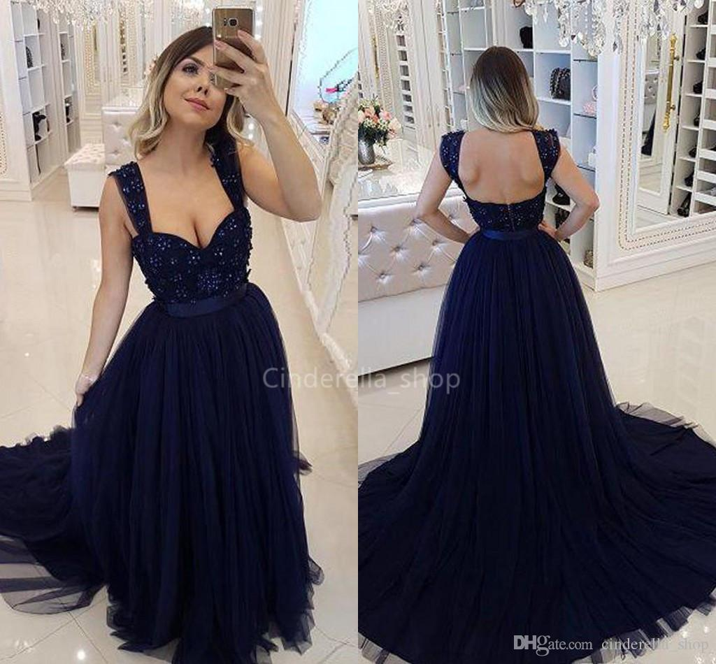 cb1cc69c44 Chic Navy Blue A Line Prom Dresses Long Tulle Beaded Backless Convertible  Formal Party Evening Gowns With Straps Customized Abaya 2019 Robes Uk Prom  Dresses ...