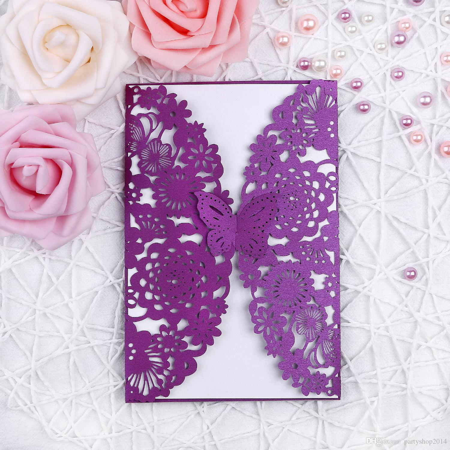 New Purple Butterfly Invitation Card Set Invitation Pocket Envelope Inner Cards Folded Solid Elegant Wedding Party Supplies PH28