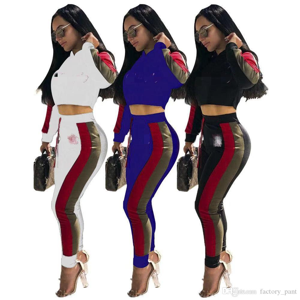 8542b0e02c 2019 Women Sexy Tracksuit Drawstring Hoodies Collar Sets Long Sleeve Crop  Top + Casual Pants Two Piece Suits Outdoor Tracksuits From Factory_pant, ...