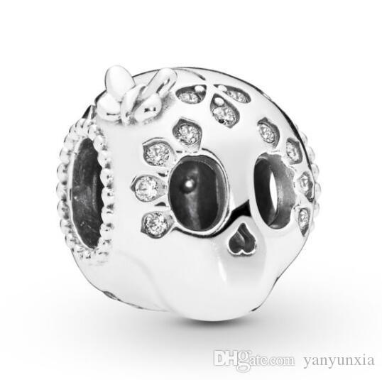 Original 925 Sterling Silver Bead Charm Sparkling Skull Beads Fit Pandora Women Bracelet & Necklace Diy Jewelry