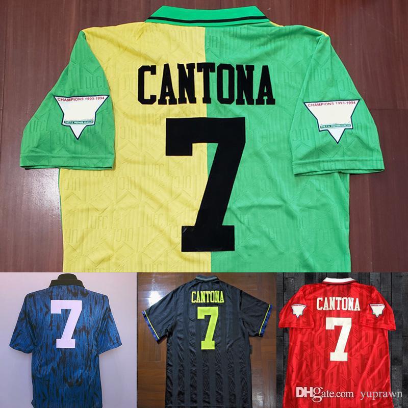 32c1df42c 2019 Velvet Name Cantona 93 94 Man Black Beckham Soccer Jersey 1993 1994  Retro UTD Classic Football Shirt Giggs United Green Maillot De Foot From  Yuprawn