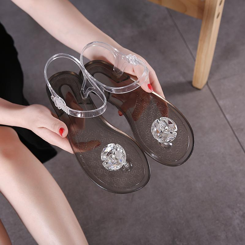 049161797aa6ce Ms. Summer Transparent Jelly Sandals Rhinestone Flowers Flat With Flip  Crystal Crystal Soft Bottom Beach Shoes Women S Shoes Gold Shoes Flat Shoes  From ...