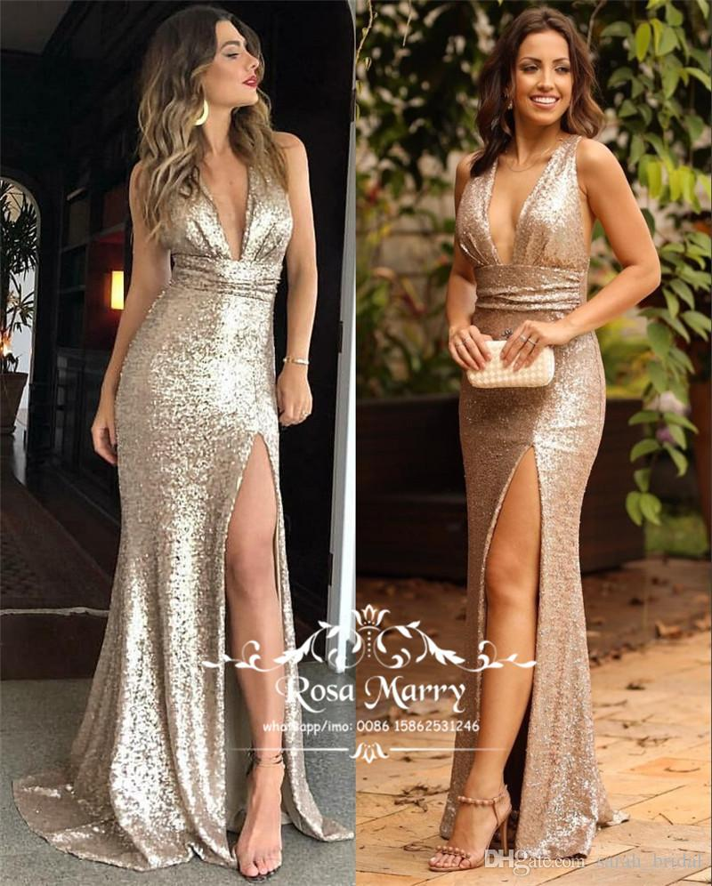 Sparkly Gold Sequined Mermaid Prom Dresses 2019 Deep V Neck High Split Plus  Size Cheap Arabic Formal Evening Party Gowns Gold Prom Dress Light Blue  Prom ... c5307716967d