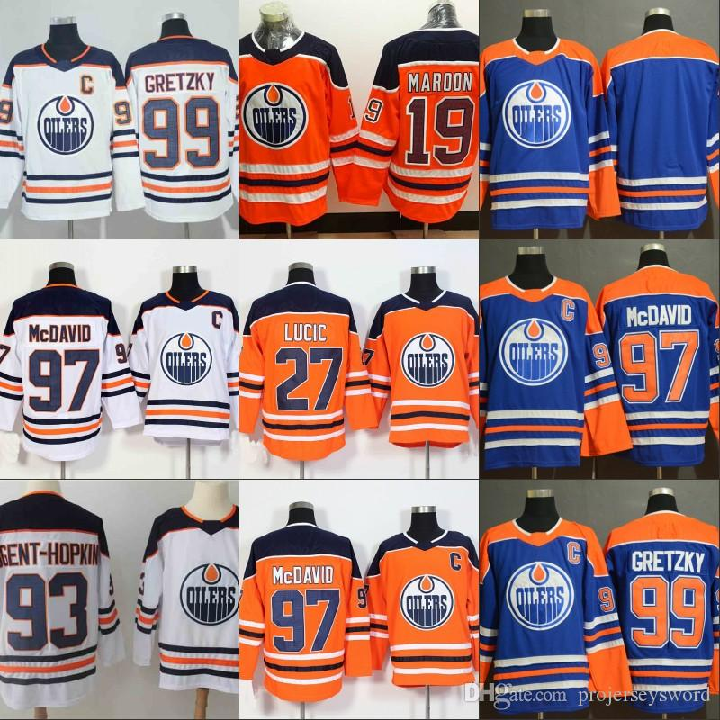 2019  97 Connor McDavid Captain C Patch Jersey Edmonton Oilers 19 Patrick  Maroon 27 Milan Lucic 29 Leon Draisaitl 99 Wayne Gretzky Jerseys From ... 4d66fd90b