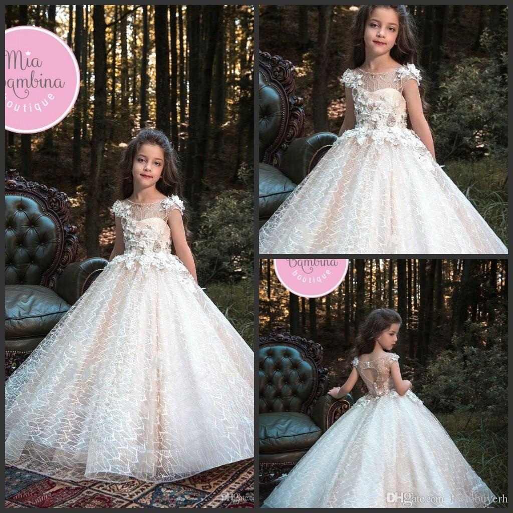 2366889c6e4 Princess Champagne Flower Girl Dresses Appliques Hand Made Flowers A Line  Kids Prom Party Birthday Gowns First Holy Communion Pageant Dress Long  Dresses For ...