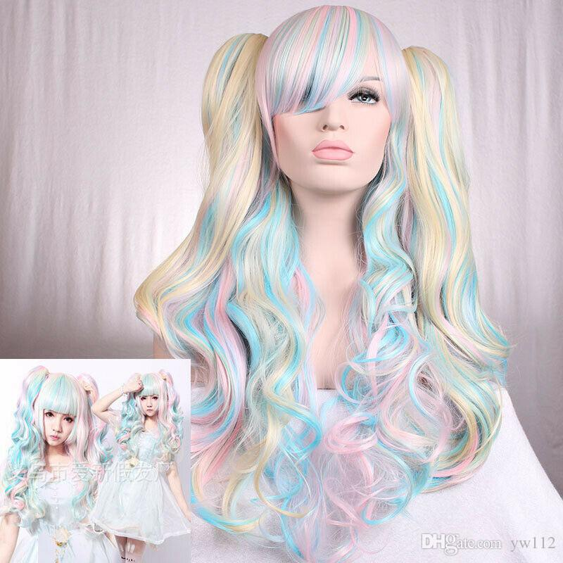 Details about Lolita Miku Women Long Straight Wavy Cosplay Wig Anime Hair Mixed Colors