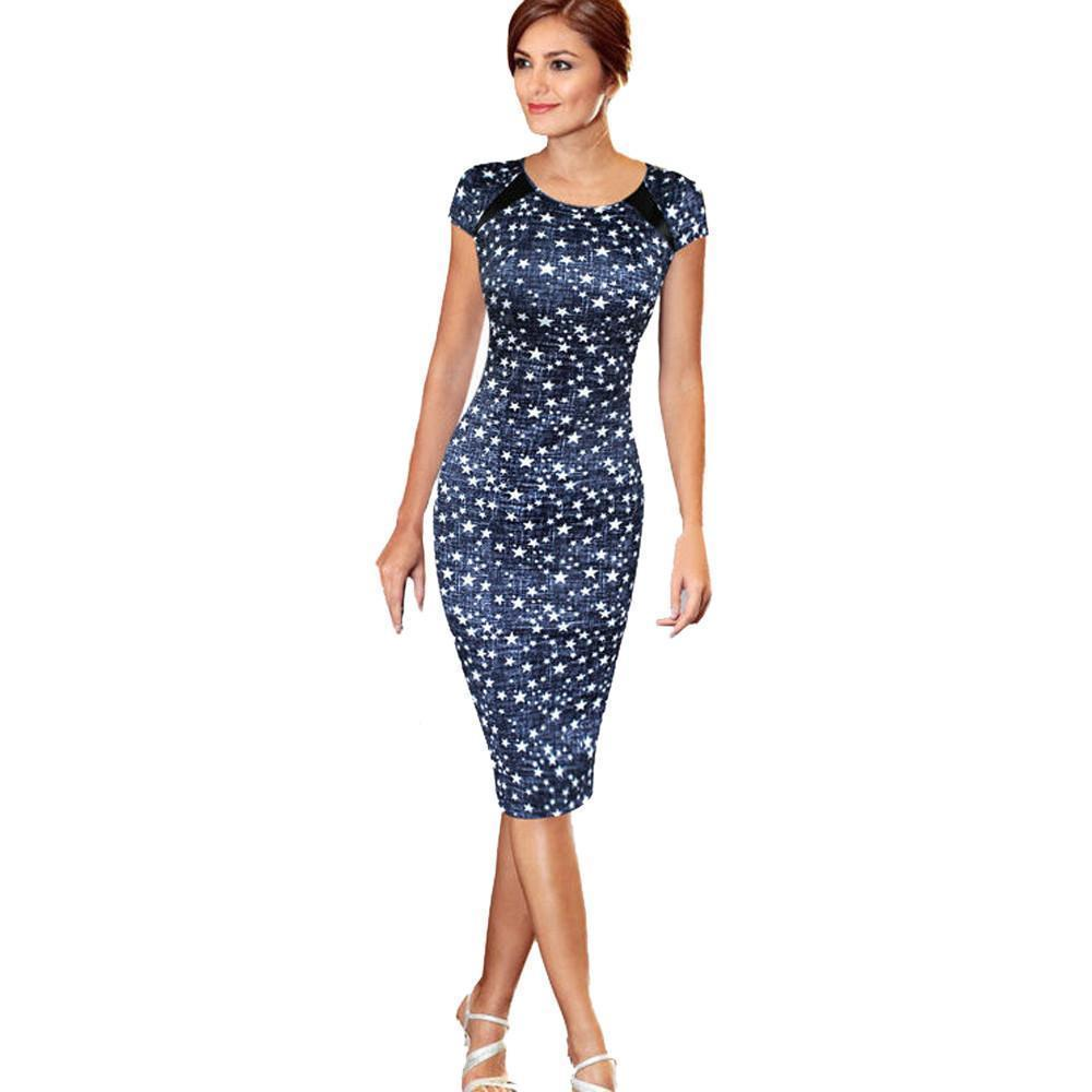 34cc33c1271 Women Elegant Office Dress Summer Starts Printed Work Dresses O Neck Short  Sleeve Bodycon Dress Vestido  VE Plus Size Party Dress Buy Dress From  Jamie21