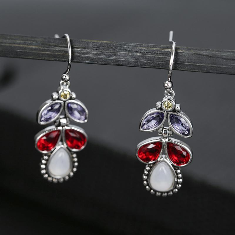2019 New Arrival Earrings Inlaid Colored Crystal Drops Pear Earrings Vintage Europe And The Moonlight Stone Ear Jewelry