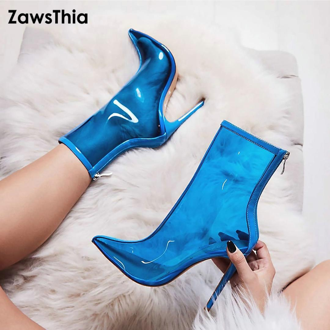 e544c3435ee ZawsThia Hot Sale New Women PVC Ankle Boots Super High Heels Woman Shoes  Sexy Transparent Boots Pointed Toe Stiletto Jelly Black Ankle Boots Wedge  Shoes ...
