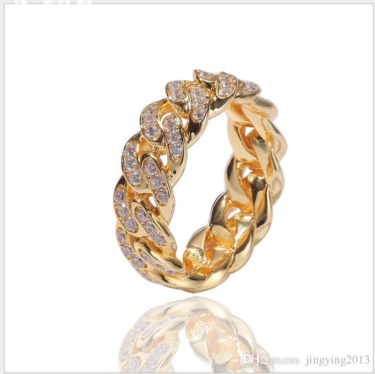 Hip-hop Zircon Cuban Chain Ring 8mm Zircon-plated Genuine Gold Trend Men