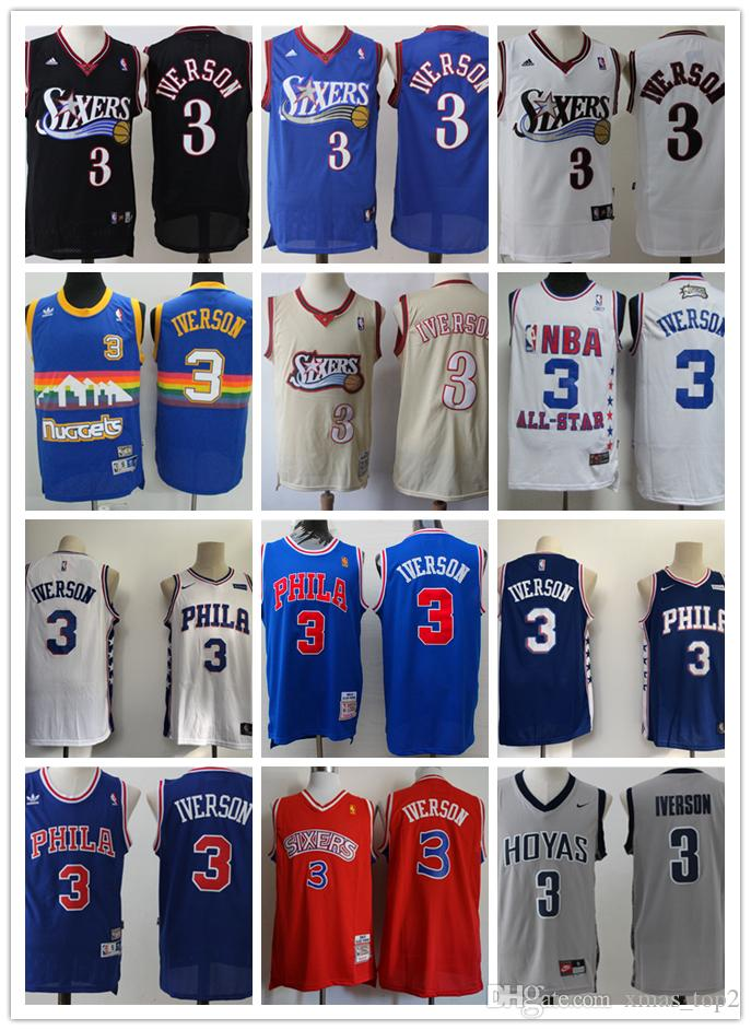 hot sales 353d9 82f67 Retro Mitchell & Ness 76ers 3 Iverson Philadelphia Jerseys 76ers Retro  Basketball Jerseys Stitched Iverson Georgetown Hoyas Jerseys