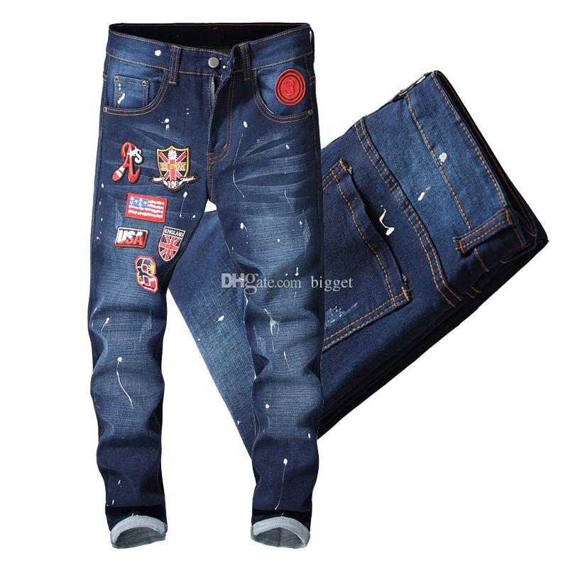 21912c65ae Jeans Motocycle elasticizzati bicolore nero / blu Pantaloni Damage Skinny  Fit da uomo
