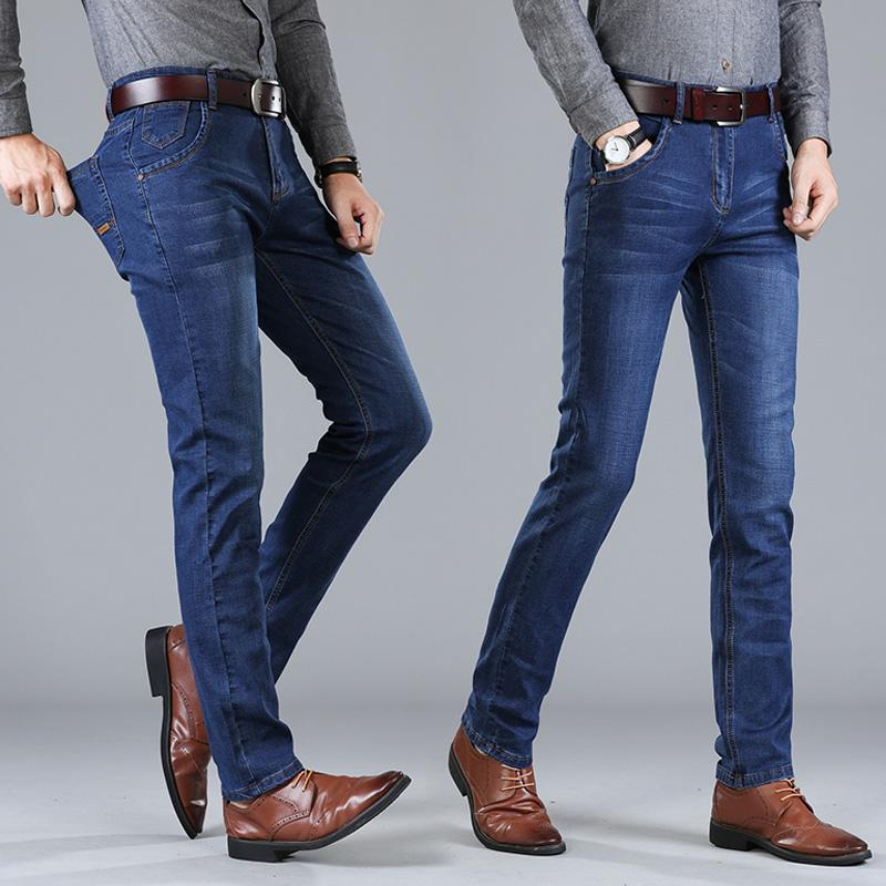 2019 Brand Men Jeans Thick Winter Autumn Style Jeans Slim Stretch Denim Pants Solid Slim Fit Male Street Skinny Pant