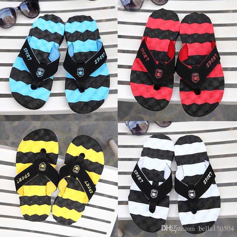 6965857ab741 Designer Hornets Stripe Men Sandal Slippers Man S Flip Flops Beckham  Leisure Shoes Beach Sandals Hip Hop Street Sandals Womens Loafers Fashion  Shoes From ...