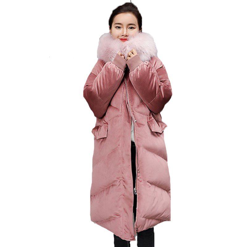 5685048e6 2019 Plus Size Ukraine Big Fur Collar Velvet Cotton Padded Jacket ...