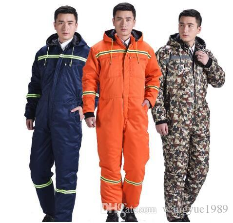 M-4XL Free shipping New Men Winter Work Cotton One-piece Overalls Thickening Jumpsuit Construction Labor Factory Siamese Protective Clothes