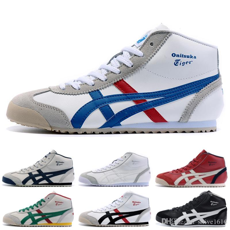 reputable site 6e8dd 65b6b Asics Onitsuka Tiger High Running Shoes For men women Top Quality Stripe  Balck White Blue Designer Shoes Sport Sneakers 36-45