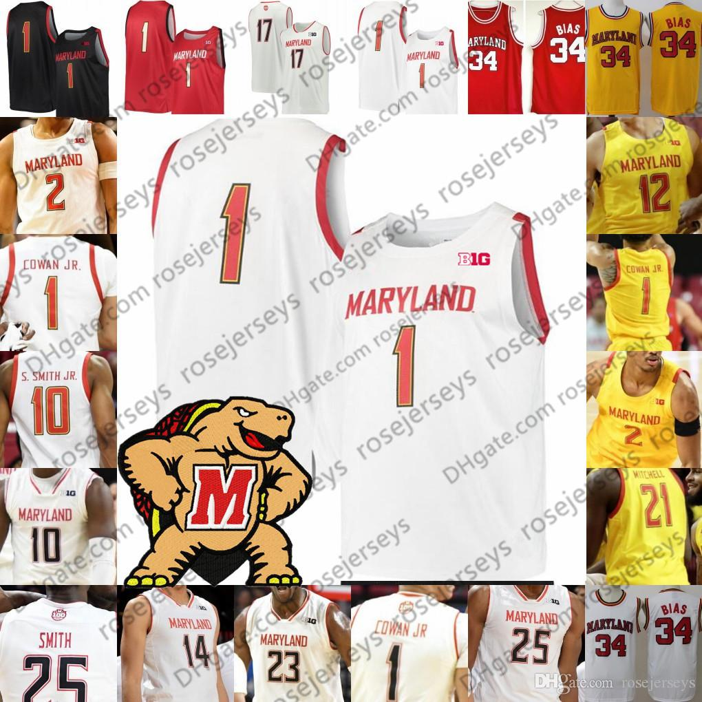 Maryland costume 2020 College Basketball Black Red White Yellow 1 Anthony Cowan Jr. 25 Jalen Smith 2 Aaron Wiggins Homens Juventude Terps Jersey