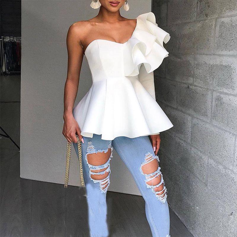 e7bdd51339c645 2019 Ruffle Trim One Shoulder Peplum Top Female Black White Summer Blouse  Women Shirts Slim Fit Elegant Womens Tops And Blouses From Jinyucao, ...