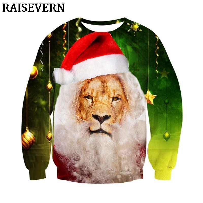 dcc1797600c3 2019 3D Lion Hoodies Sweatshirt Cats Men Women Pullovers Merry Christmas  Autumn Winter Jumpers Christmas Gifts Funny Tops Tracksuit From Dreamcloth