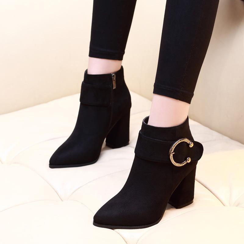 a529f12a4c0 2019 Plus Size 39 Women 7cm Block Heels Ankle Boots Winter Heels Zip Martin  Boots Short Plush Warm Lady Buckle Suede Shoes Cat Boots Shoe Sale From  Conglan