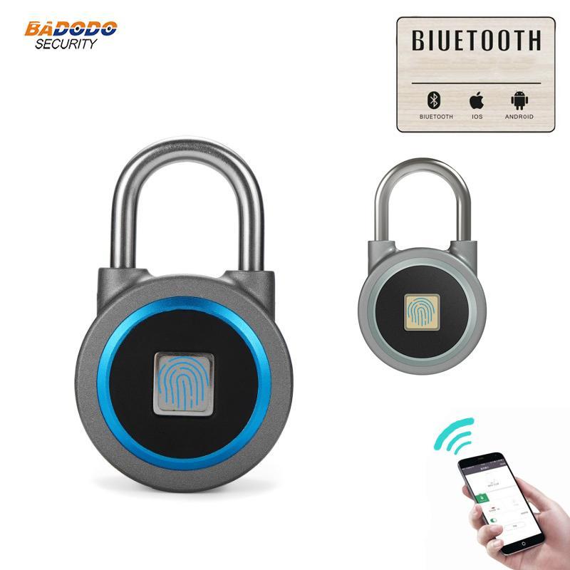 3f71b33dfb20 Waterproof Keyless portable Bluetooth smart Fingerprint Lock padlock  Anti-Theft iOS Android APP control door cabinet padlock