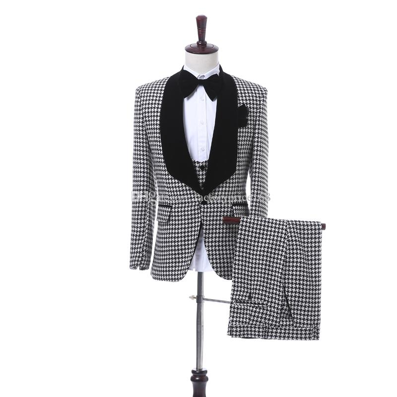 Custom-made One Button Groomsmen Shawl Lapel Groom Tuxedos Men Suits ... fdf86192d