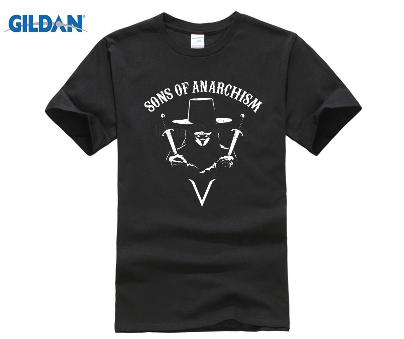 Sons Of Anarchism T Shirt Top Anonymous 4Chan Hacktivism V For Vendetta Men  S Funny Harajuku T Shirt Top Tee