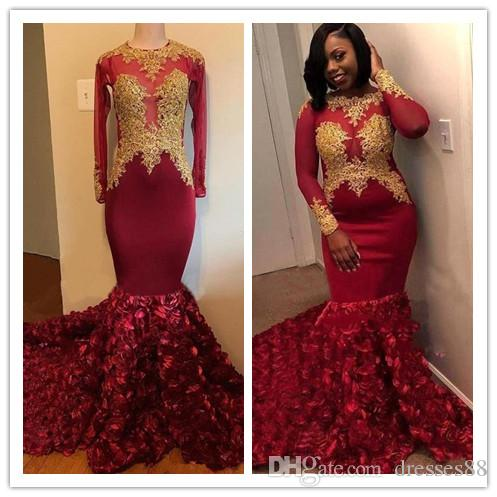 faefc0f398 Black Girls Dark Red Prom Dresses 3D Rose Flowers Mermaid Long Sleeve With  Gold Appliques Sweep Train Evening Gowns Formal
