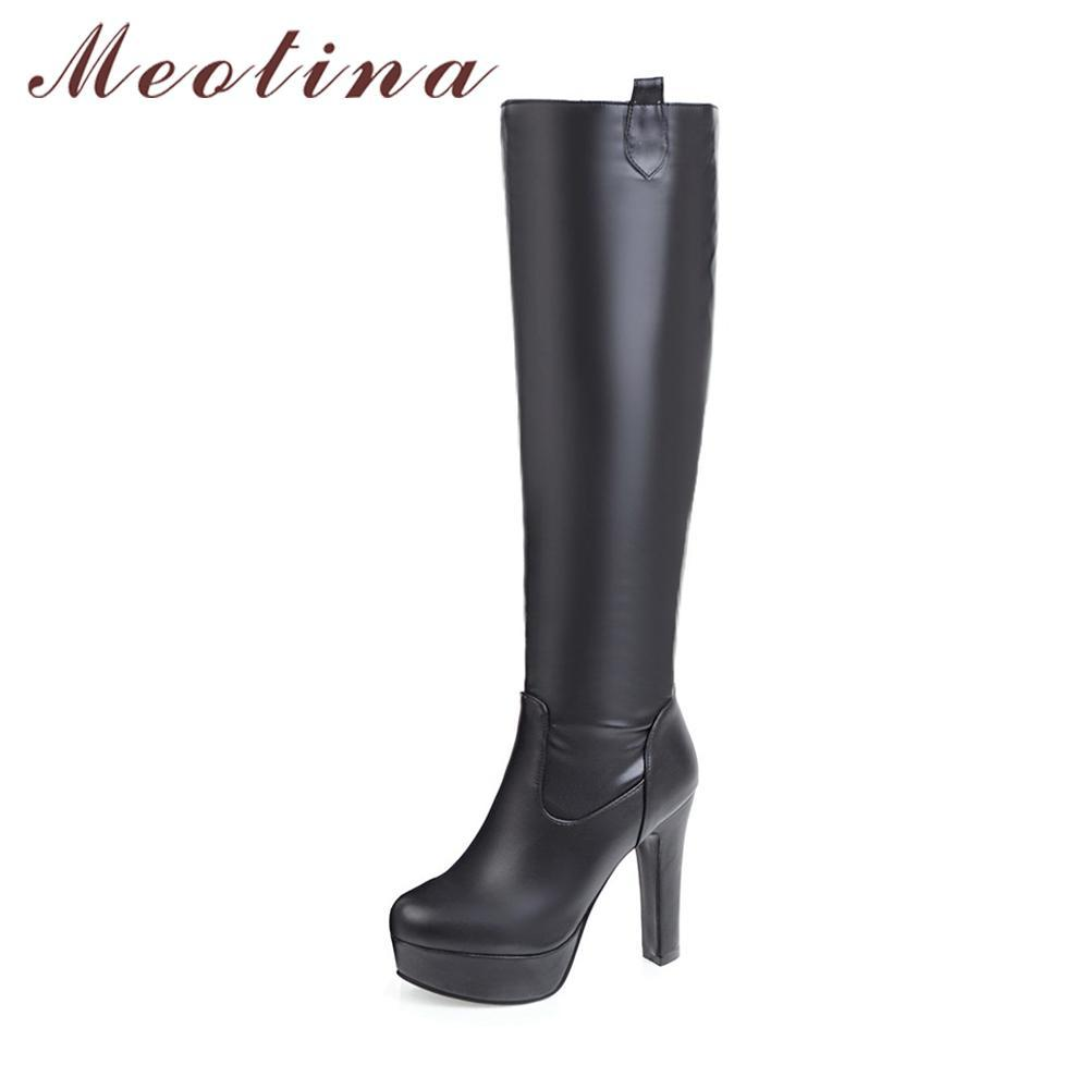 07197da887a Meotina Boots Women Winter Knee High Boots Platform High Heel Long Big Size  44 45 Round Toe Sexy Shoes Bottes Femme Black Cowboy Boots Chelsea Boots  From ...
