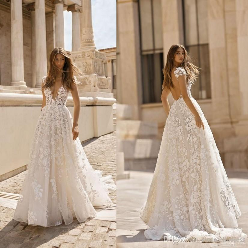 Plus Size Second Wedding Dresses: Discount New Berta 2019 Beach Wedding Dresses 3D Floral