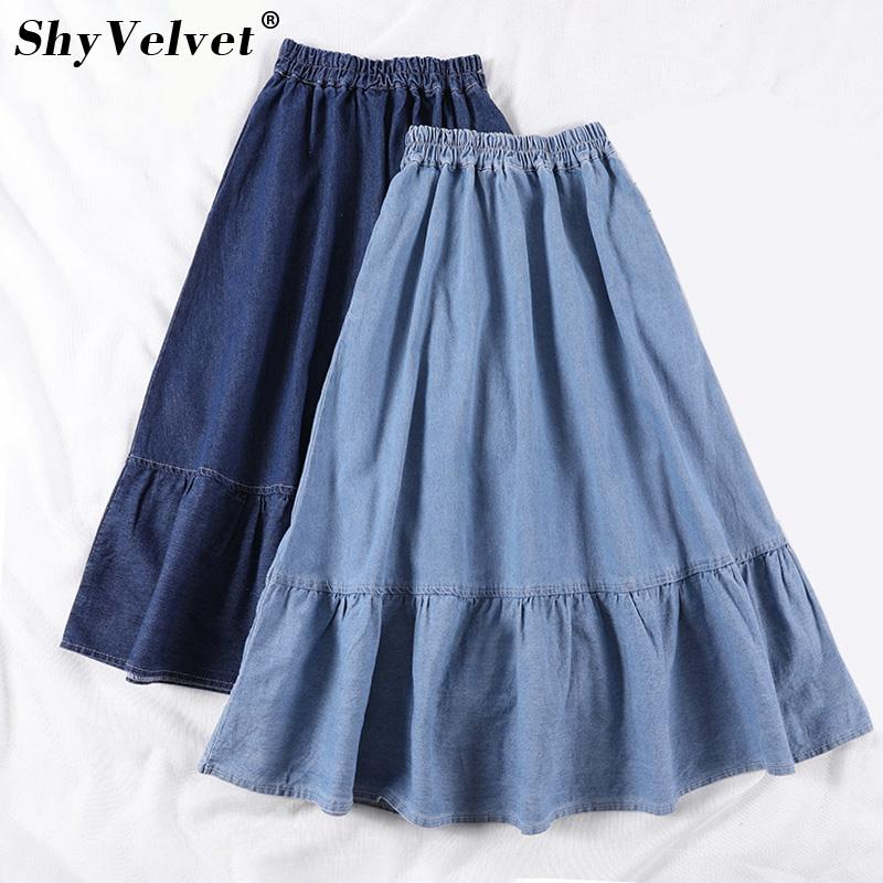 30c6838970 2019 High Waist Pleated A Line Denim Skirt Women Summer New Oversized S 3XL  Plus Size Long Loose Jeans Skirts Female From Vangoha, $25.99 | DHgate.Com