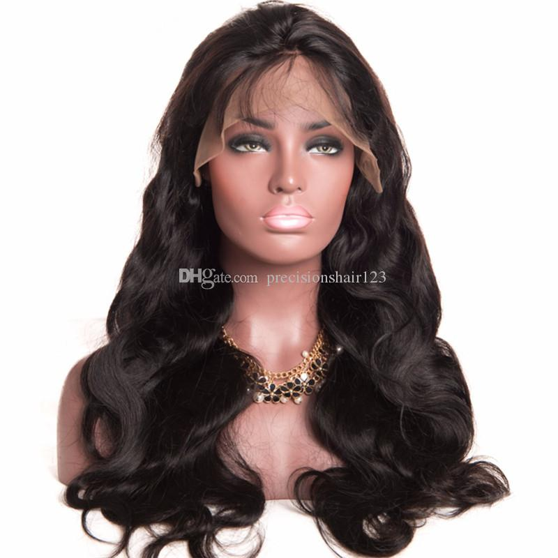 Unprocessed smooth pure remy raw virgin human hair natural color body wave long full front lace top wig for sale