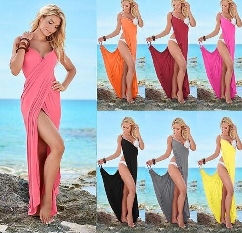 Beach Bandage Dresses V-Neck Bikini Beach Cover Up Wrap Summer Backless Lungo Maxi Tunica Abito senza maniche Boho Dress OOA6703
