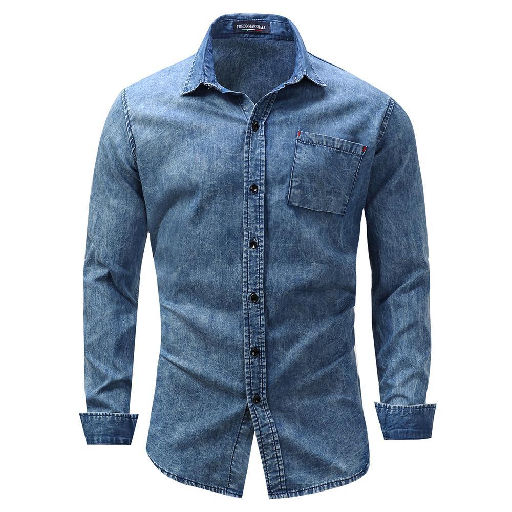 5318a78aac Compre FREDD MARSHALL Nova Camisa Homens Blusa De Manga Curta Denim Camisa  Dos Homens Casuais Vestido Masculino Jean Camisas De Rua De Alta Qualidade  ...