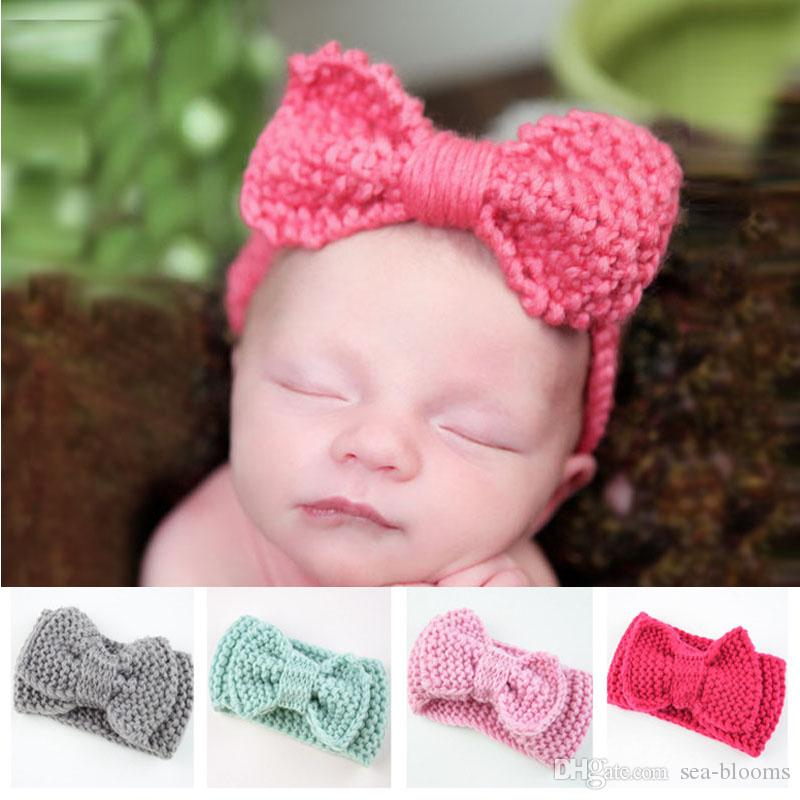 Children Knitted Bow Hair Band Girl Autumn Winter Handmade Headwrap Cute Wool Headband Baby Hair Accessories Support FBA Drop Shipping M29F